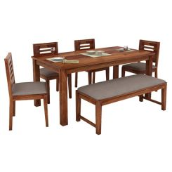 Janet 6 Seater Dining Table Set With Bench (Teak Finish)