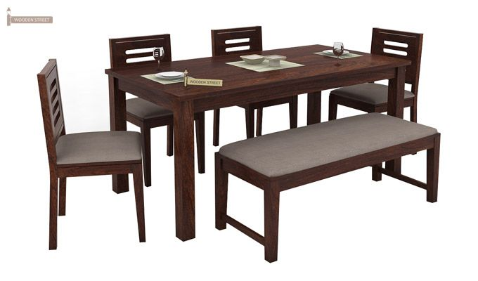 Janet 6 Seater Dining Table Set With Bench (Walnut Finish)-1