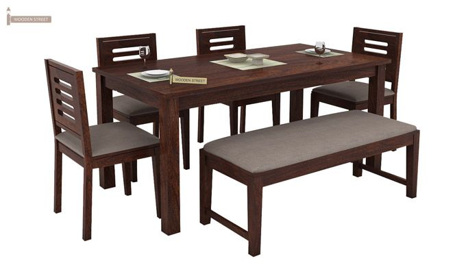 Janet 6 Seater Dining Table Set With Bench (Walnut Finish)-2