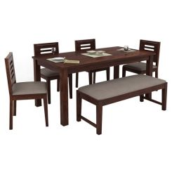 Janet 6 Seater Dining Table Set With Bench (Walnut Finish)