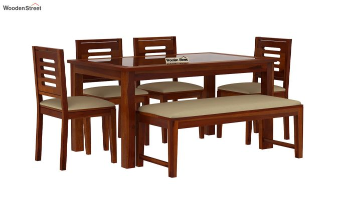 Janet 6 Seater Dining Set with Bench with Glass Top (Honey Finish)-2