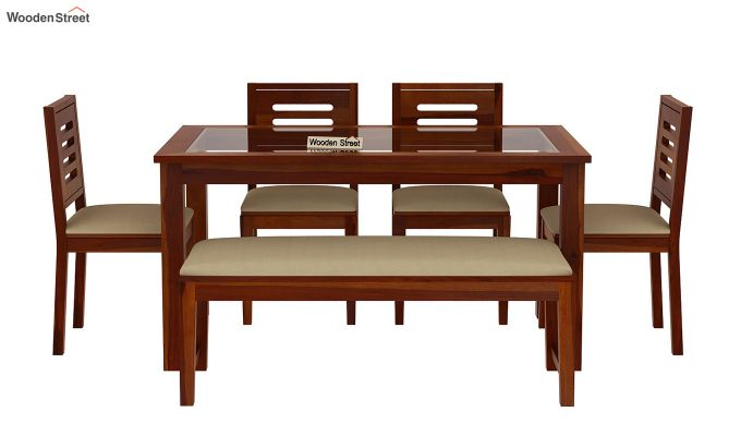Janet 6 Seater Dining Set with Bench with Glass Top (Honey Finish)-3