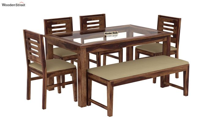 Janet 6 Seater Dining Set with Bench with Glass Top (Teak Finish)-2