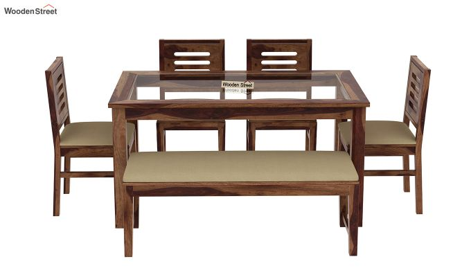 Janet 6 Seater Dining Set with Bench with Glass Top (Teak Finish)-3