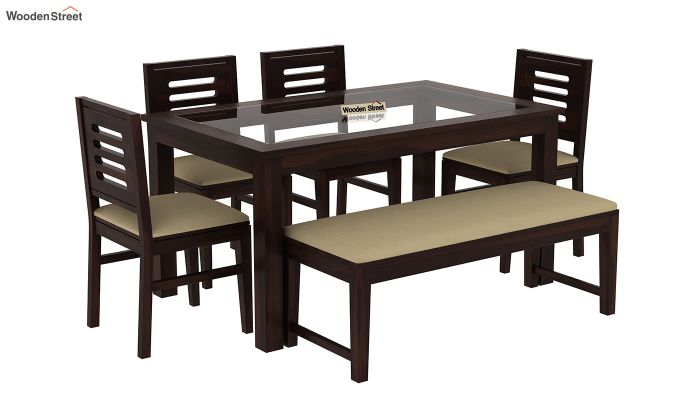 Janet 6 Seater Dining Set with Bench with Glass Top (Walnut Finish)-2