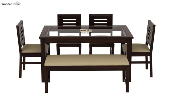 Janet 6 Seater Dining Set with Bench with Glass Top (Walnut Finish)-3