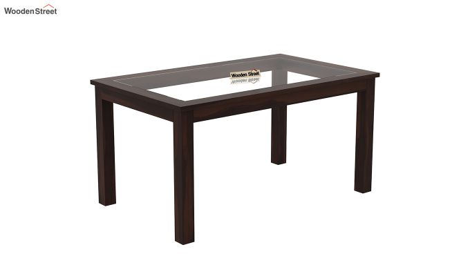 Janet 6 Seater Dining Set with Bench with Glass Top (Walnut Finish)-4