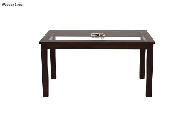 Janet 6 Seater Dining Set with Bench with Glass Top (Walnut Finish)-9