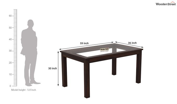 Janet 6 Seater Dining Set with Bench with Glass Top (Walnut Finish)-12