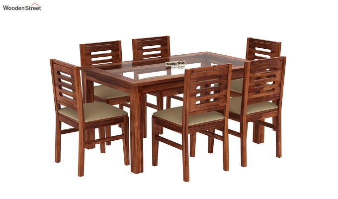 Janet 6 Seater Dining Set with Glass Top (Honey Finish)-2