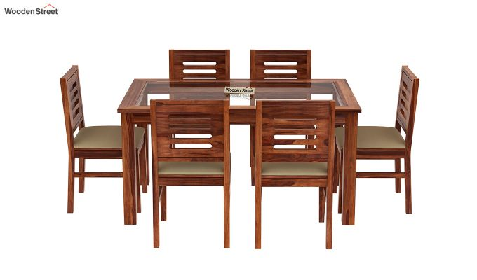 Janet 6 Seater Dining Set with Glass Top (Honey Finish)-3