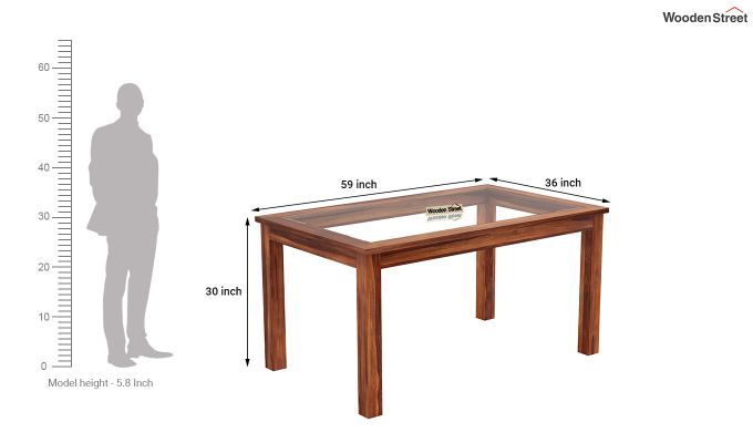 Janet 6 Seater Dining Set with Glass Top (Honey Finish)-9