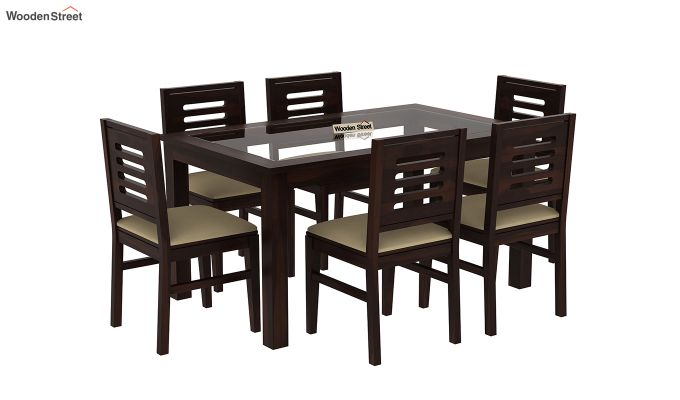 Janet 6 Seater Dining Set with Glass Top (Walnut Finish)-2