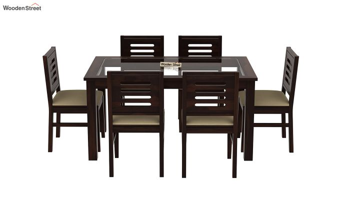 Janet 6 Seater Dining Set with Glass Top (Walnut Finish)-3