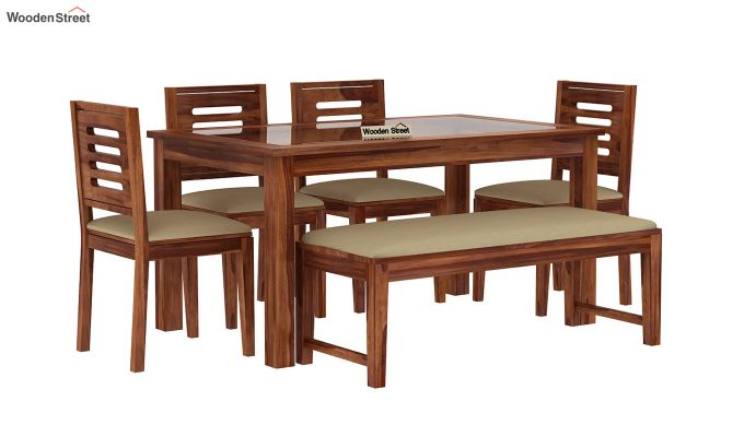 57fde2774 Buy Janet 6 Seater Dining Set with Bench with Glass Top (Teak Finish ...