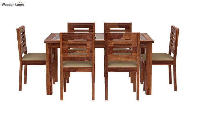 Janet 6 Seater Dining Set with Glass Top (Teak Finish)-2