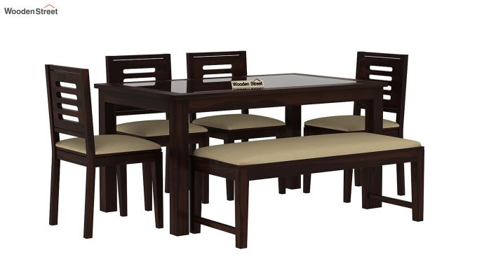 Janet 6 Seater Dining Set with Bench with Glass Top (Walnut Finish)-1