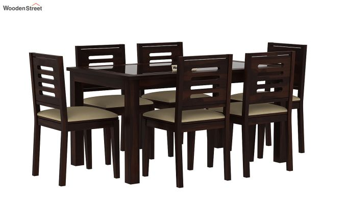 804998c4c Buy Janet 6 Seater Dining Set with Glass Top (Walnut Finish) Online ...