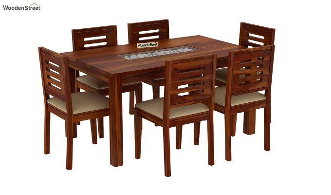Janet 6 Seater Dining Set with Stone Set (Honey Finish)-2
