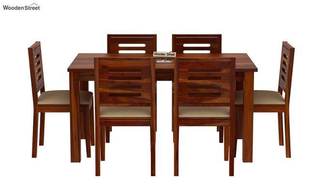 Janet 6 Seater Dining Set with Stone Set (Honey Finish)-3