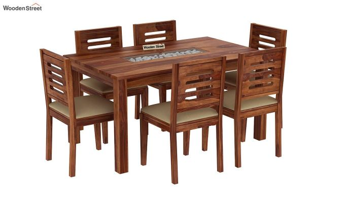 Janet 6 Seater Dining Set with Stone Set (Teak Finish)-2