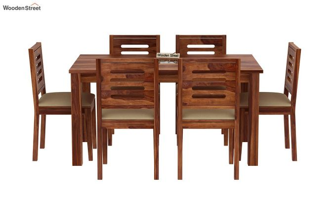 Janet 6 Seater Dining Set with Stone Set (Teak Finish)-3