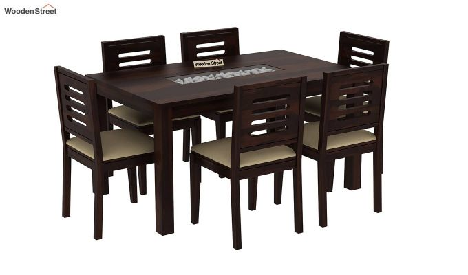 Janet 6 Seater Dining Set with Stone Set (Walnut Finish)-2