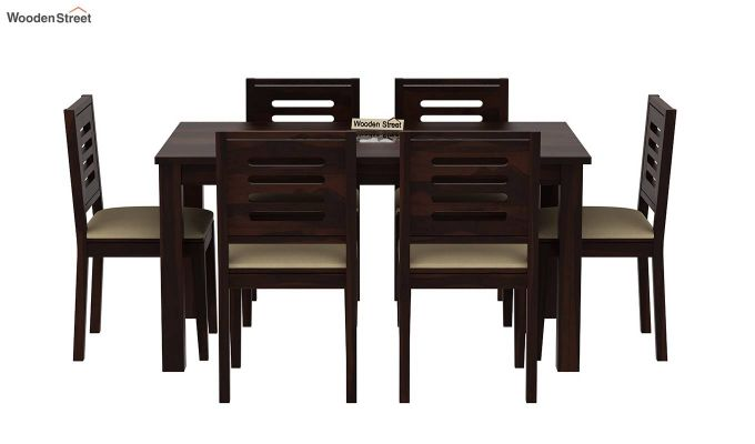 Janet 6 Seater Dining Set with Stone Set (Walnut Finish)-3