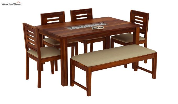 Janet 6 Seater Dining Set with Bench with Stone Set (Honey Finish)-2