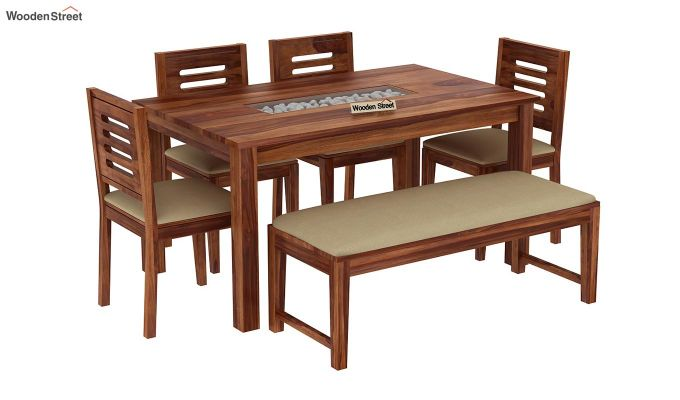 Janet 6 Seater Dining Set with Bench (Teak Finish)-2