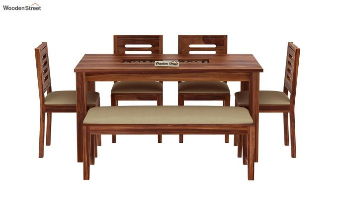 Janet 6 Seater Dining Set with Bench with Stone Set (Teak Finish)-3