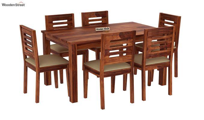 Janet Cushioned 6 Seater Dining Table Set (Honey Finish)-2
