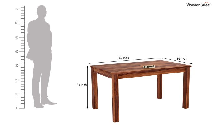 Janet Cushioned 6 Seater Dining Table Set (Honey Finish)-8