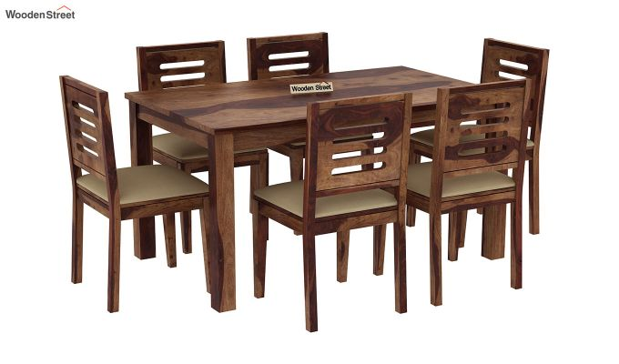 Janet Cushioned 6 Seater Dining Table Set (Teak Finish)-2