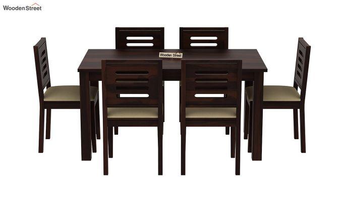 Janet Cushioned 6 Seater Dining Table Set (Walnut Finish)-3
