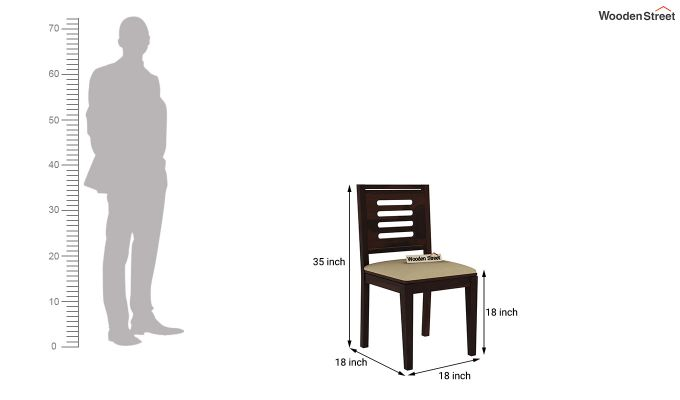Janet Cushioned 6 Seater Dining Table Set (Walnut Finish)-9