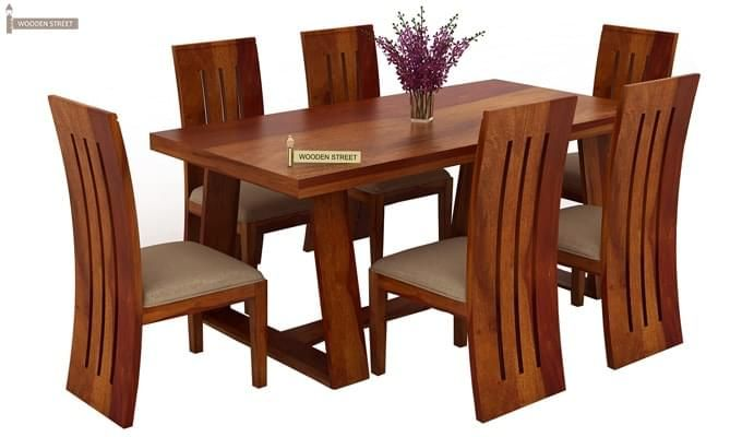 Jaoquin 6 Seater Dining Set (Honey Finish)-1