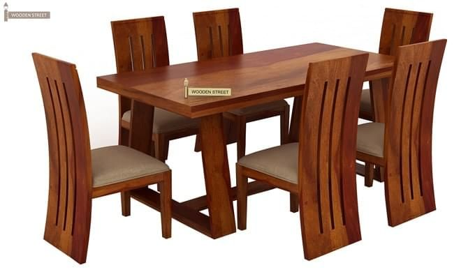 Jaoquin 6 Seater Dining Set (Honey Finish)-2