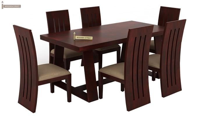 Jaoquin 6 Seater Dining Set (Mahogany Finish)-2