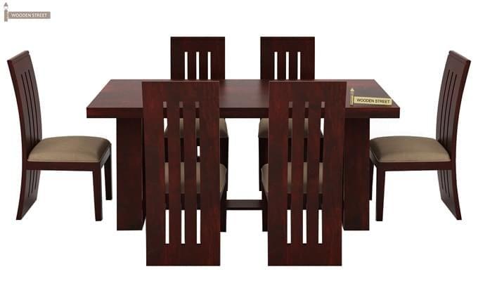Jaoquin 6 Seater Dining Set (Mahogany Finish)-3