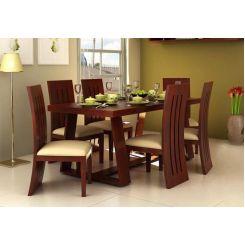 Jaoquin 6 Seater Dining Set (Mahogany Finish)