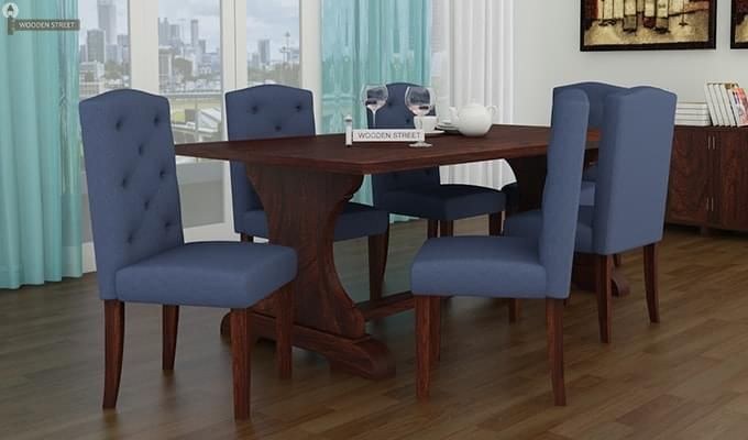 Jeor Six Seater Dining Set (Walnut Finish)-1