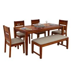 Kietel 6 Seater Dining Set With Bench (Honey Finish)