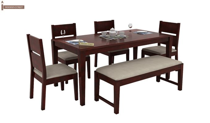 Kietel 6 Seater Dining Set With Bench (Mahogany Finish)-1