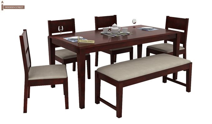Kietel 6 Seater Dining Set With Bench (Mahogany Finish)-2