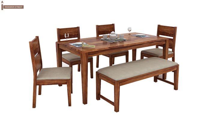 Kietel 6 Seater Dining Set With Bench (Teak Finish)-2