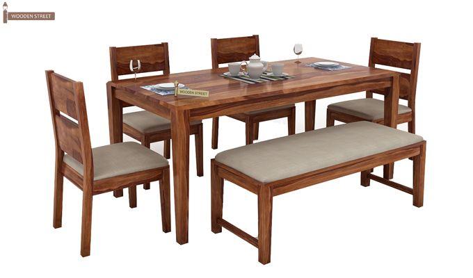 Kietel 6 Seater Dining Set With Bench (Teak Finish)-3