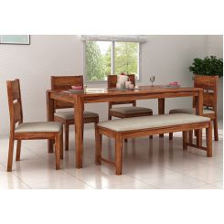 Kietel 6 Seater Dining Set With Bench (Teak Finish)