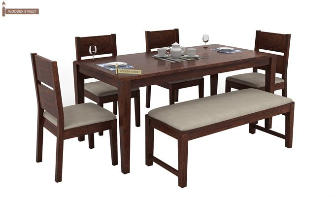 Kietel 6 Seater Dining Set With Bench (Walnut Finish)-1