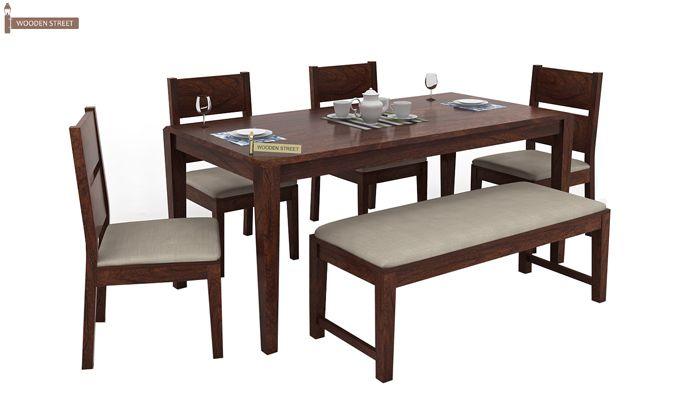 Kietel 6 Seater Dining Set With Bench (Walnut Finish)-2
